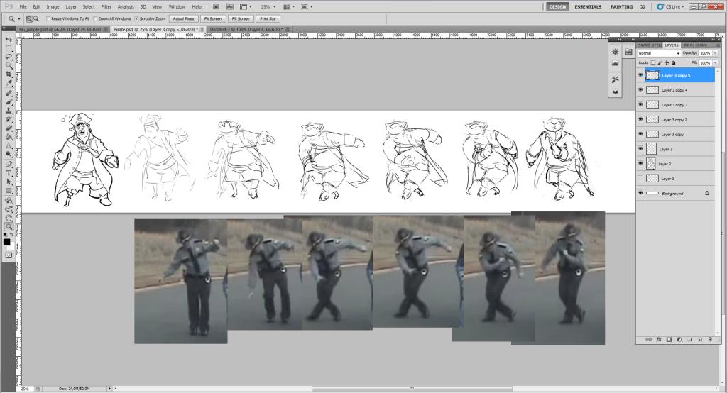 Йо понякога взима кадри от подходящи видеа, за да направи адекватна анимацията на героите си.