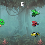 While green, the Chameleon has to aim at the green bug.