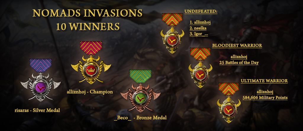 Nomads Invasions 10 Winners